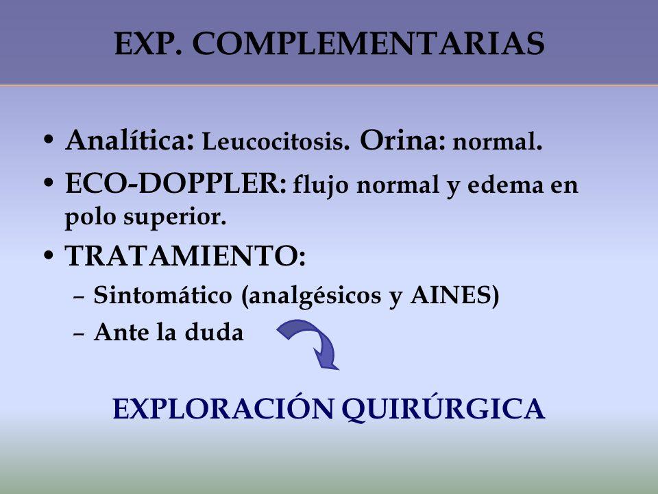EXP. COMPLEMENTARIAS A nalítica : Leucocitosis. Orina: normal. E CO-DOPPLER: flujo normal y edema en polo superior. T RATAMIENTO: –S–S intomático (ana