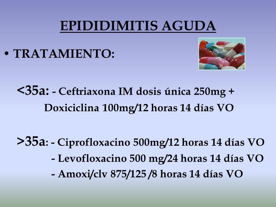 TRATAMIENTO: <35a: - Ceftriaxona IM dosis única 250mg + Doxiciclina 100mg/12 horas 14 días VO >35a : - Ciprofloxacino 500mg/12 horas 14 días VO - Levo