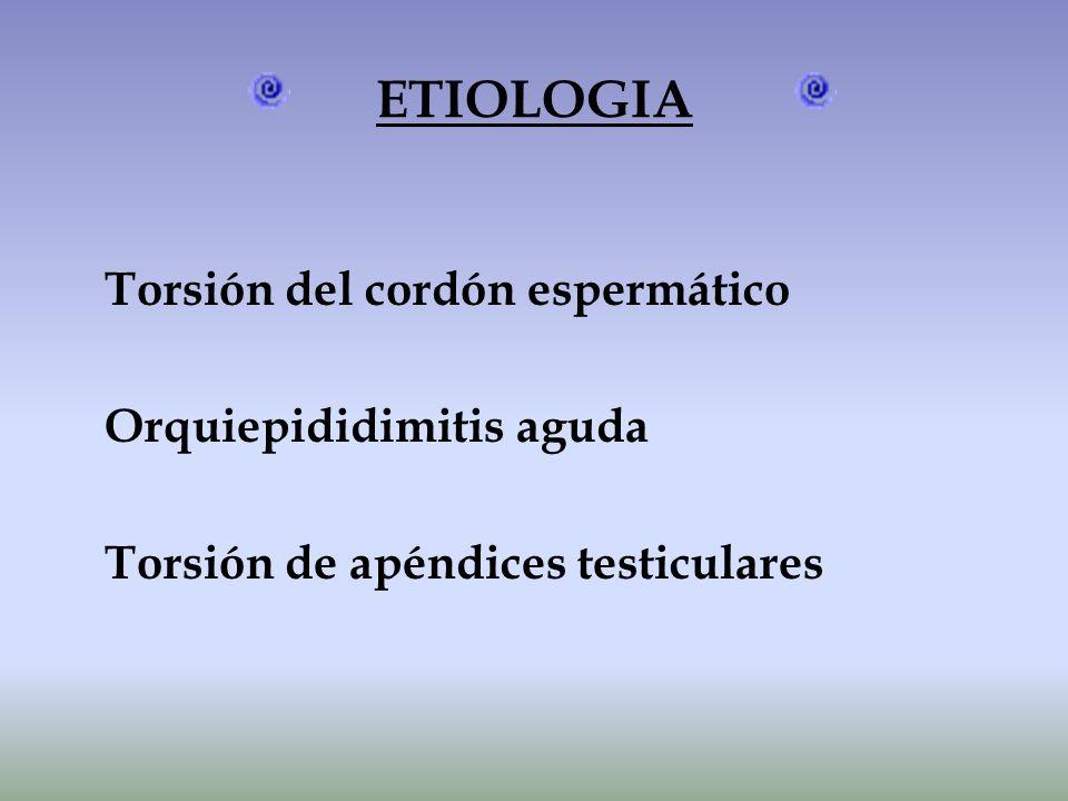 ETIOLOGIA Torsión del cordón espermático Orquiepididimitis aguda Torsión de apéndices testiculares