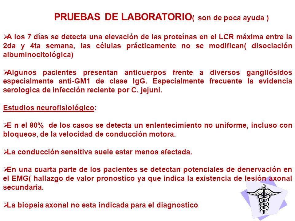 PRUEBAS DE LABORATORIO ( son de poca ayuda ) A los 7 días se detecta una elevación de las proteínas en el LCR máxima entre la 2da y 4ta semana, las cé