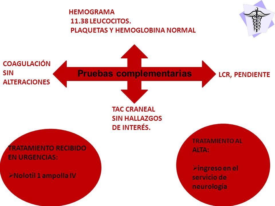 HEMOGRAMA 11.38 LEUCOCITOS. PLAQUETAS Y HEMOGLOBINA NORMAL Pruebas complementarias LCR, PENDIENTE TAC CRANEAL SIN HALLAZGOS DE INTERÉS. COAGULACIÓN SI