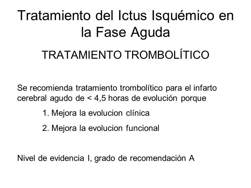 Tratamiento del Ictus Isquémico en la Fase Aguda TRATAMIENTO TROMBOLÍTICO Se recomienda tratamiento trombolítico para el infarto cerebral agudo de < 4