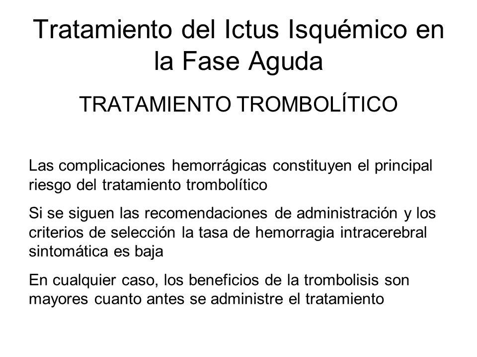 Tratamiento del Ictus Isquémico en la Fase Aguda TRATAMIENTO TROMBOLÍTICO Las complicaciones hemorrágicas constituyen el principal riesgo del tratamie