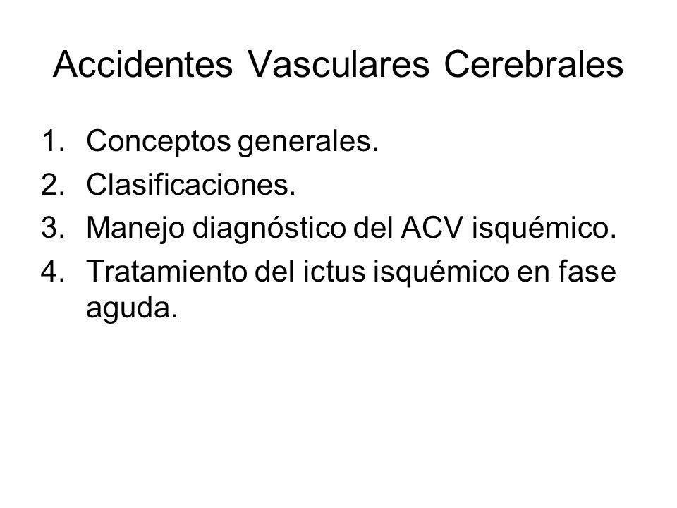 Accidentes Vasculares Cerebrales 1.Conceptos generales. 2.Clasificaciones. 3.Manejo diagnóstico del ACV isquémico. 4.Tratamiento del ictus isquémico e