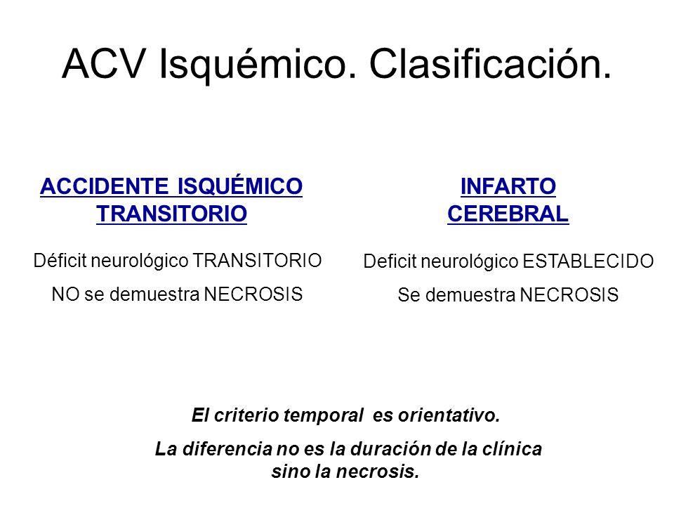 ACV Isquémico. Clasificación. Déficit neurológico TRANSITORIO NO se demuestra NECROSIS Deficit neurológico ESTABLECIDO Se demuestra NECROSIS ACCIDENTE