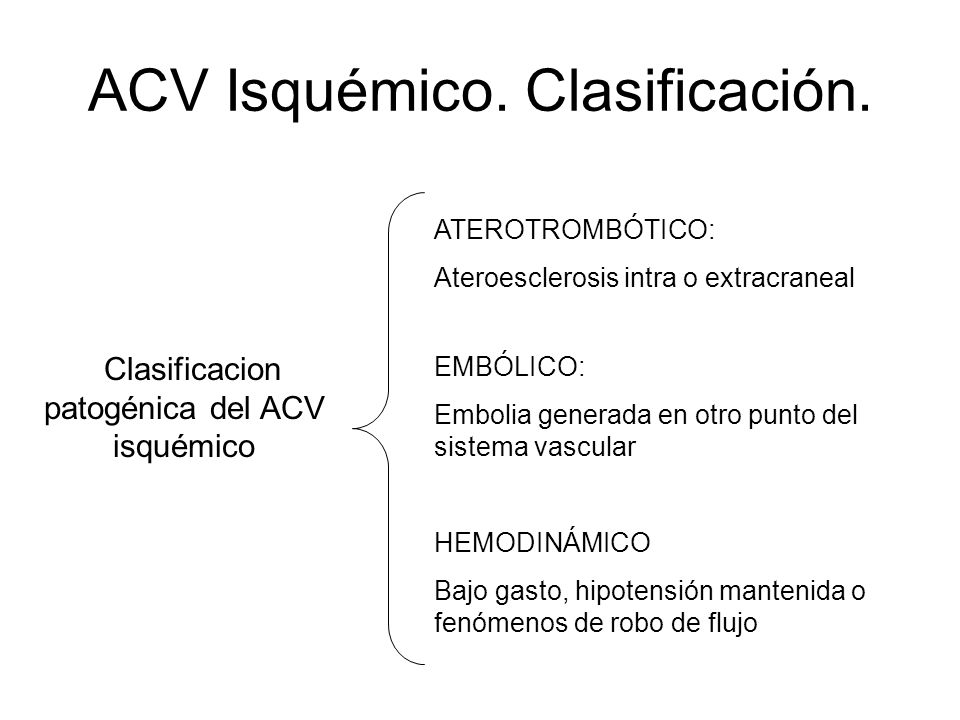 ACV Isquémico. Clasificación. Clasificacion patogénica del ACV isquémico ATEROTROMBÓTICO: Ateroesclerosis intra o extracraneal EMBÓLICO: Embolia gener