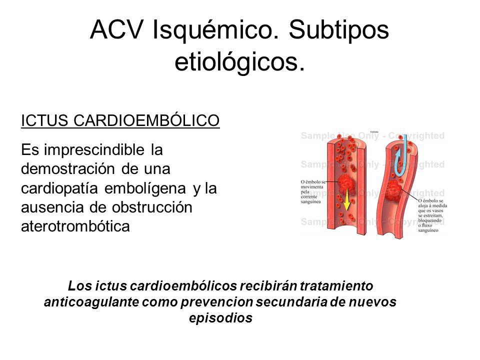 ACV Isquémico. Subtipos etiológicos. ICTUS CARDIOEMBÓLICO Es imprescindible la demostración de una cardiopatía embolígena y la ausencia de obstrucción