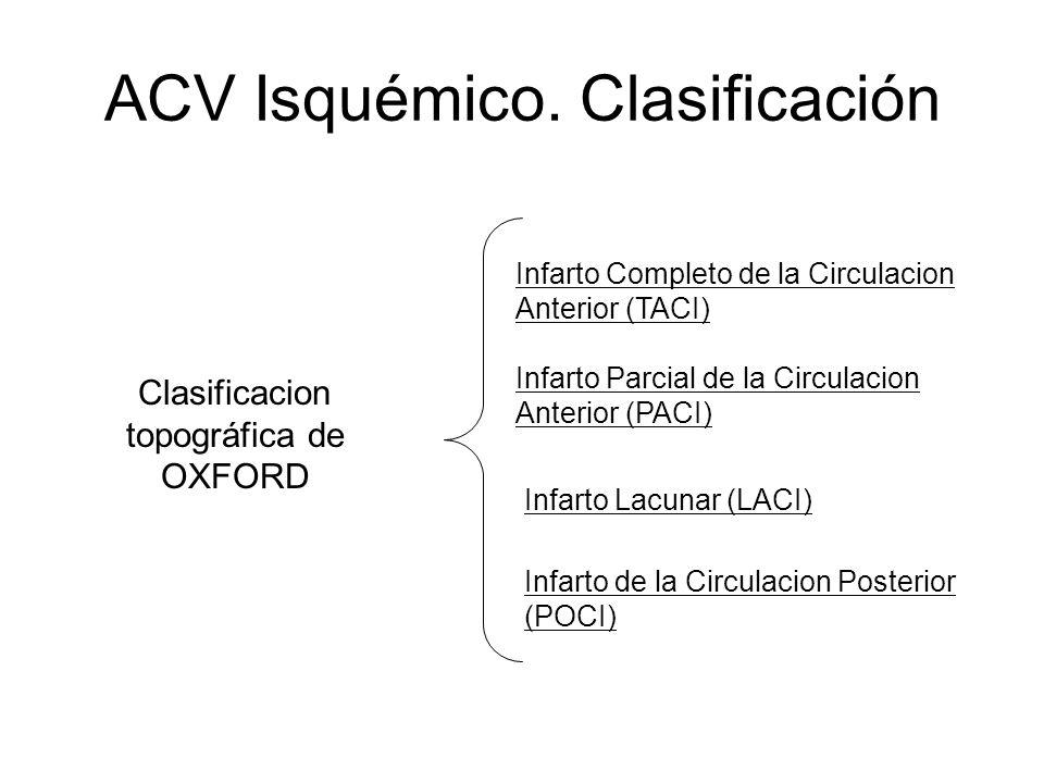 ACV Isquémico. Clasificación Clasificacion topográfica de OXFORD Infarto Completo de la Circulacion Anterior (TACI) Infarto Parcial de la Circulacion