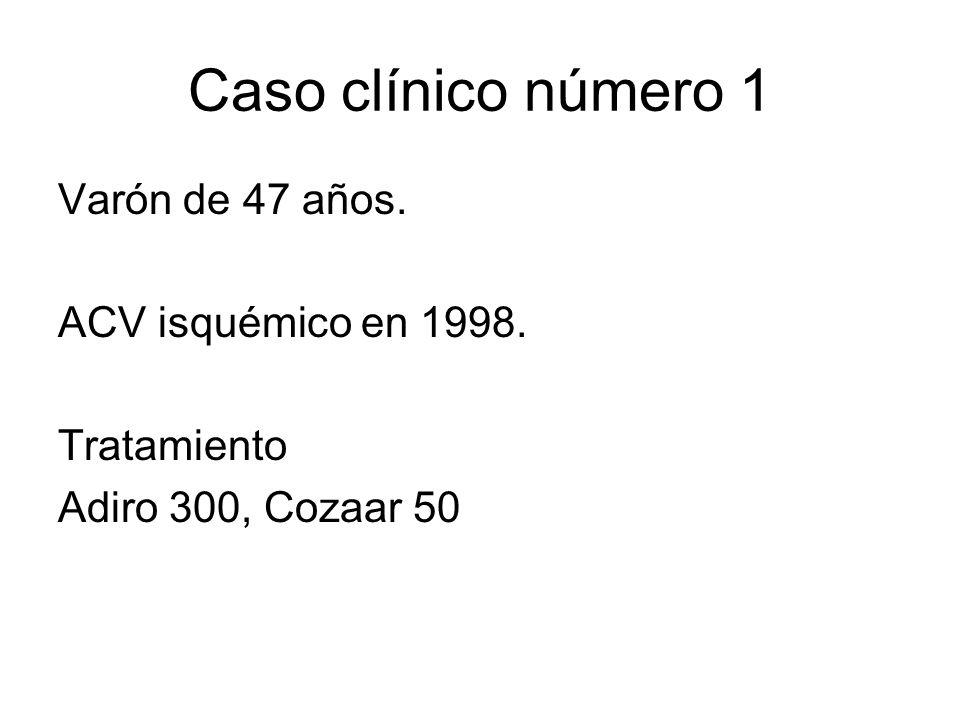 Caso clínico número 1 Varón de 47 años. ACV isquémico en 1998. Tratamiento Adiro 300, Cozaar 50