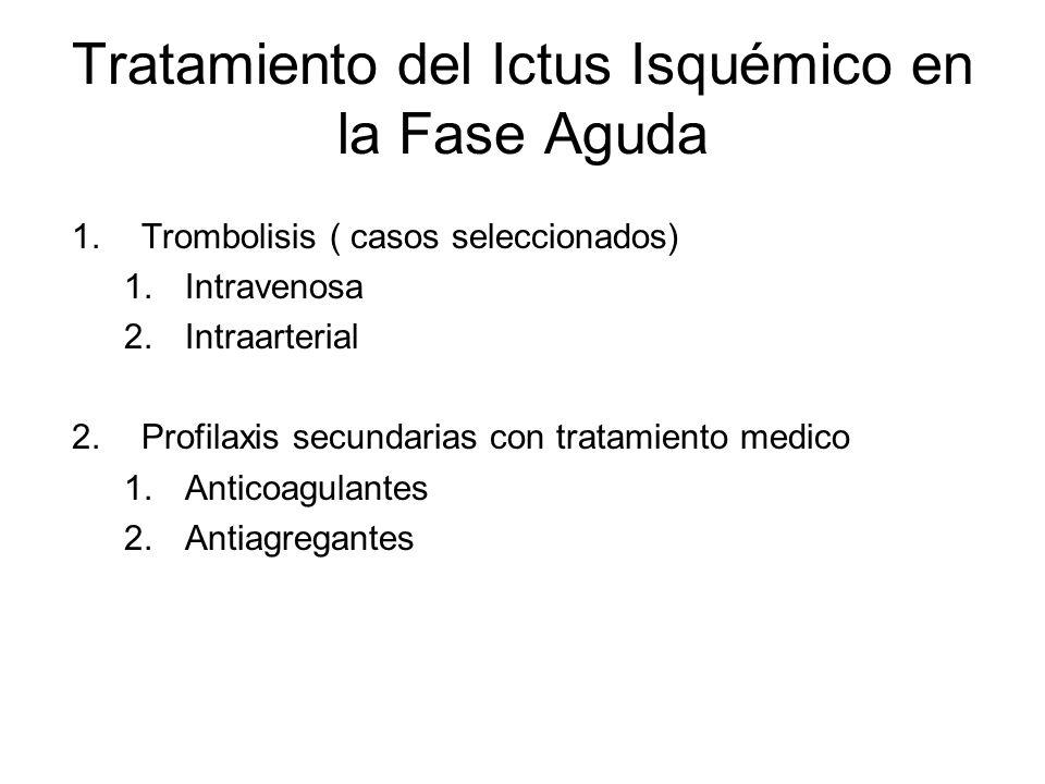 Tratamiento del Ictus Isquémico en la Fase Aguda 1.Trombolisis ( casos seleccionados) 1.Intravenosa 2.Intraarterial 2.Profilaxis secundarias con trata