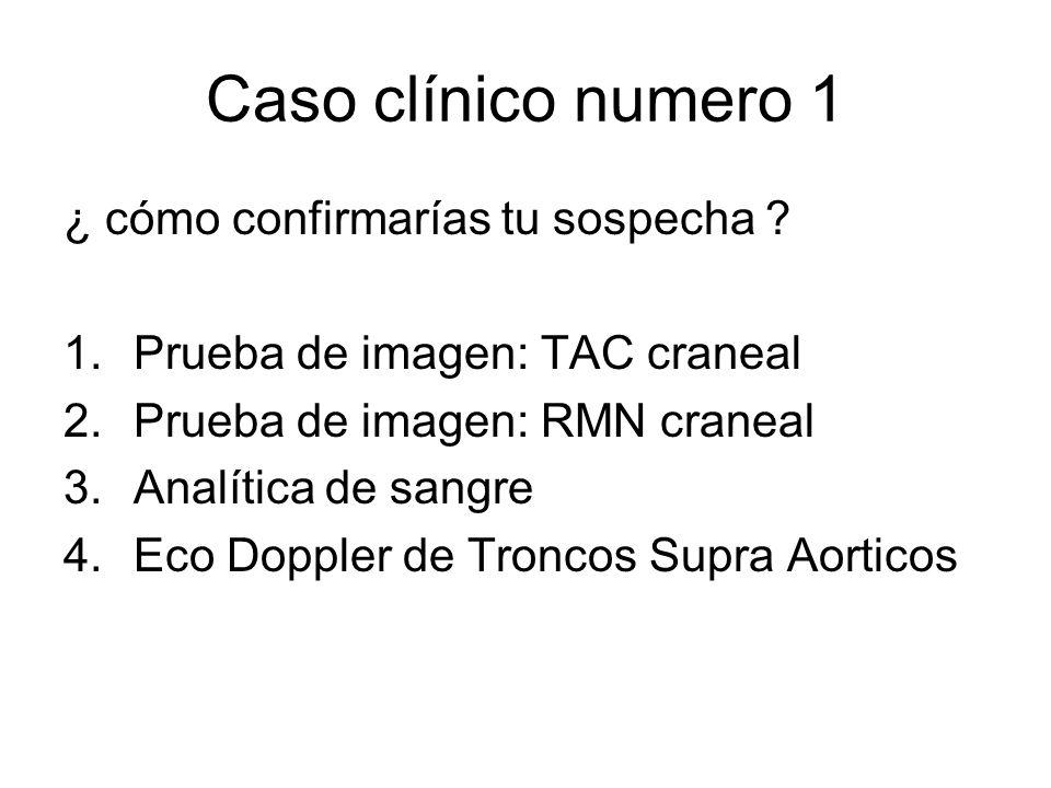 Caso clínico numero 1 ¿ cómo confirmarías tu sospecha ? 1.Prueba de imagen: TAC craneal 2.Prueba de imagen: RMN craneal 3.Analítica de sangre 4.Eco Do