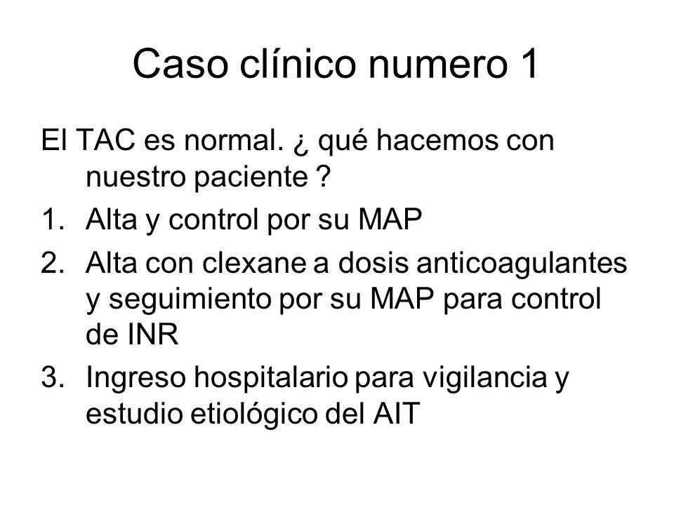 Caso clínico numero 1 El TAC es normal. ¿ qué hacemos con nuestro paciente ? 1.Alta y control por su MAP 2.Alta con clexane a dosis anticoagulantes y