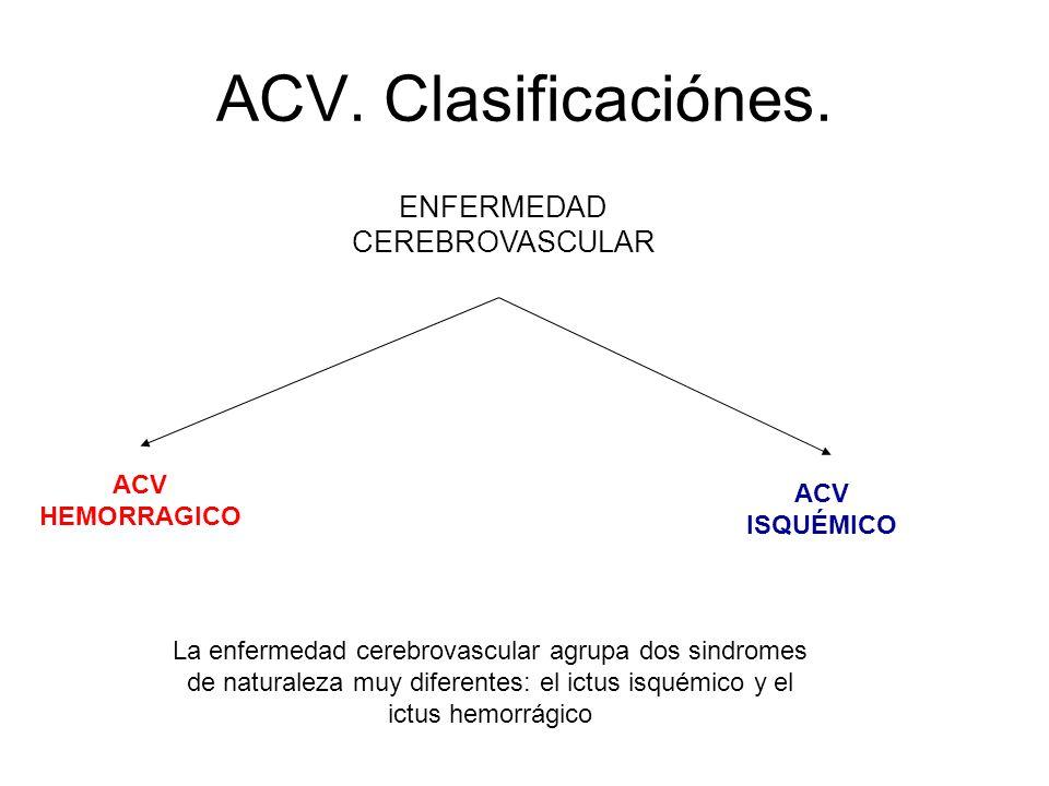 ACV. Clasificaciónes. ENFERMEDAD CEREBROVASCULAR ACV ISQUÉMICO ACV HEMORRAGICO La enfermedad cerebrovascular agrupa dos sindromes de naturaleza muy di