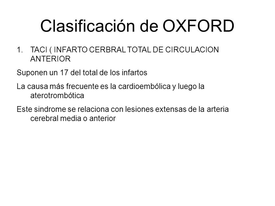 Clasificación de OXFORD 1.TACI ( INFARTO CERBRAL TOTAL DE CIRCULACION ANTERIOR Suponen un 17 del total de los infartos La causa más frecuente es la ca