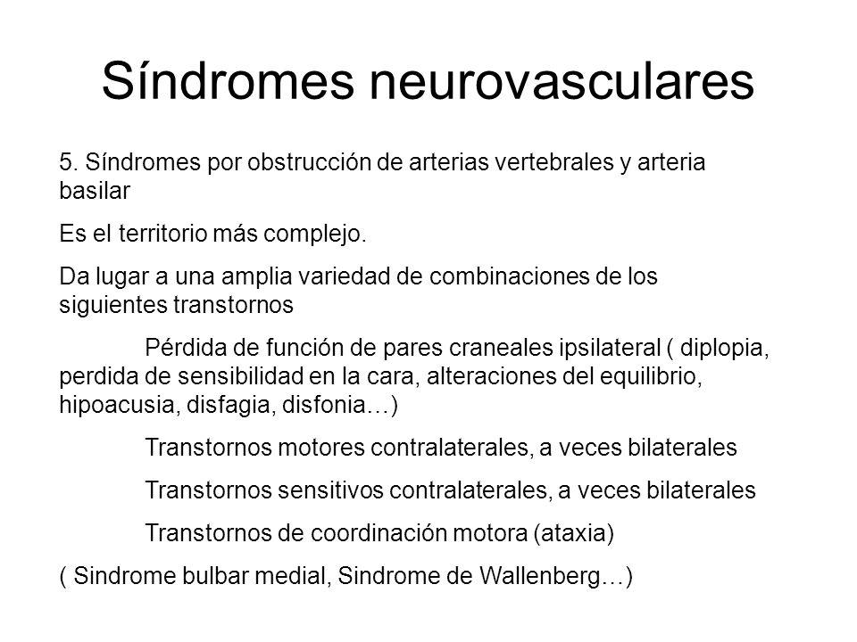 Síndromes neurovasculares 5. Síndromes por obstrucción de arterias vertebrales y arteria basilar Es el territorio más complejo. Da lugar a una amplia