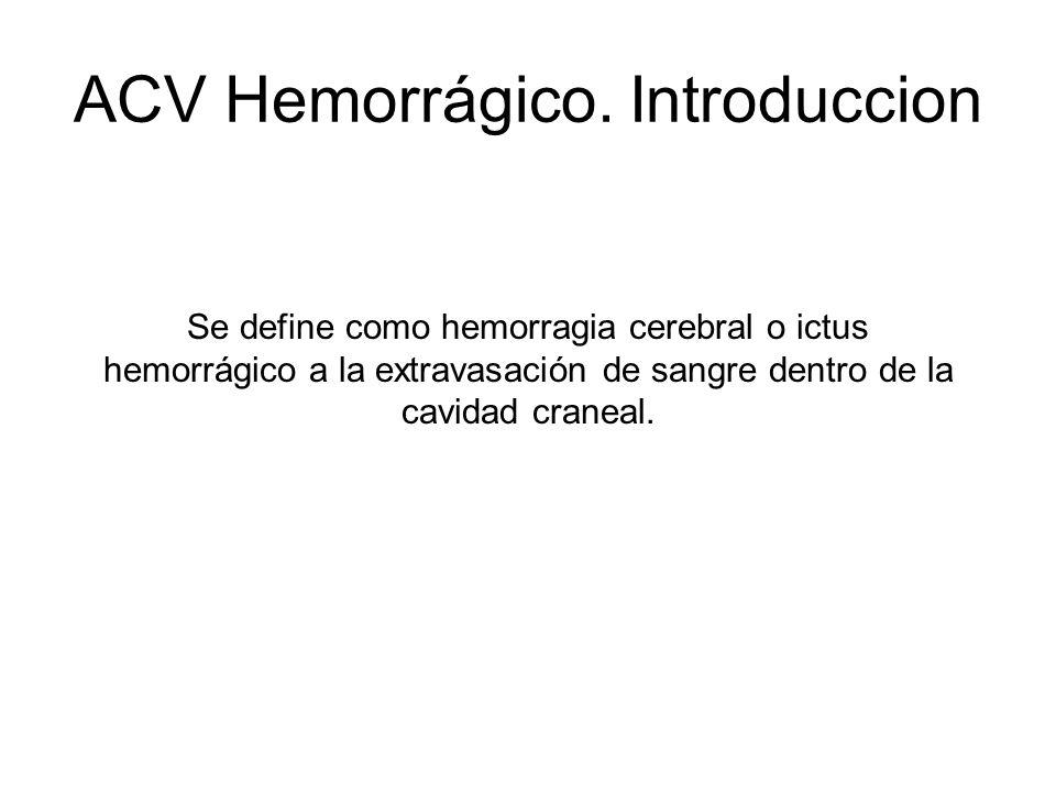 ACV Hemorrágico. Introduccion Se define como hemorragia cerebral o ictus hemorrágico a la extravasación de sangre dentro de la cavidad craneal.