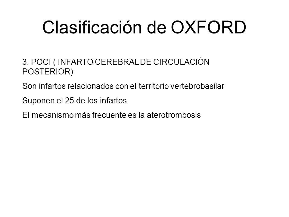 Clasificación de OXFORD 3. POCI ( INFARTO CEREBRAL DE CIRCULACIÓN POSTERIOR) Son infartos relacionados con el territorio vertebrobasilar Suponen el 25