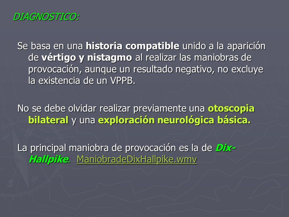Esta prueba se considera positiva cuando desencadena clínica de VÉRTIGO Y NISTAGMO.