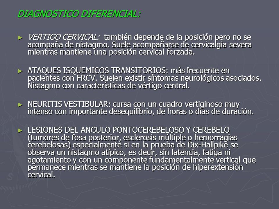 DIAGNOSTICO DIFERENCIAL: VERTIGO CERVICAL: también depende de la posición pero no se acompaña de nistagmo. Suele acompañarse de cervicalgia severa mie