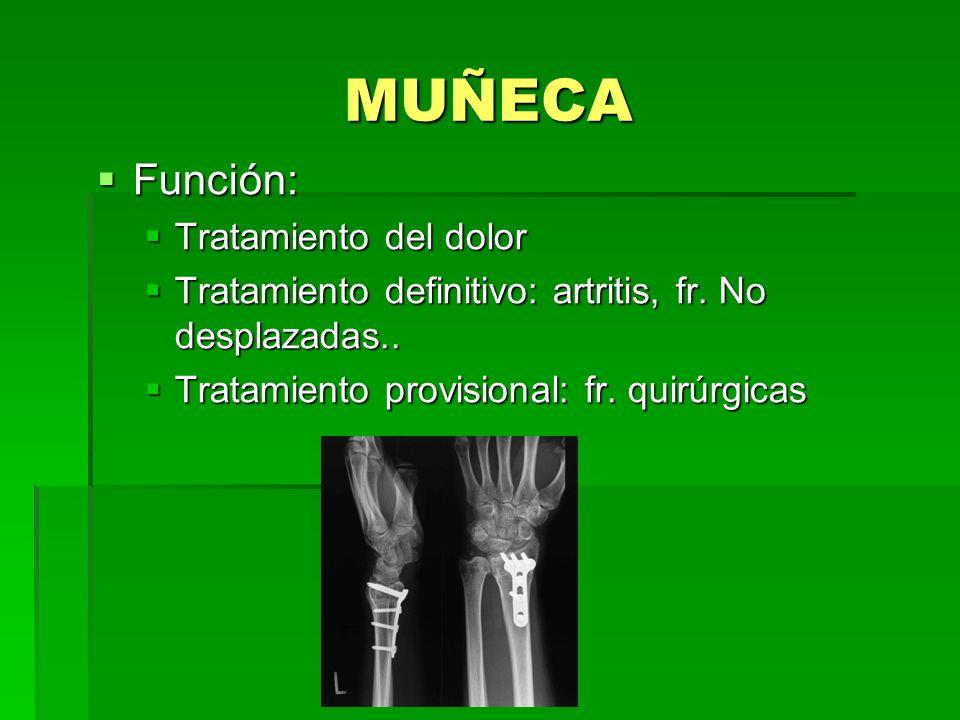 MUÑECA Función: Función: Tratamiento del dolor Tratamiento del dolor Tratamiento definitivo: artritis, fr. No desplazadas.. Tratamiento definitivo: ar