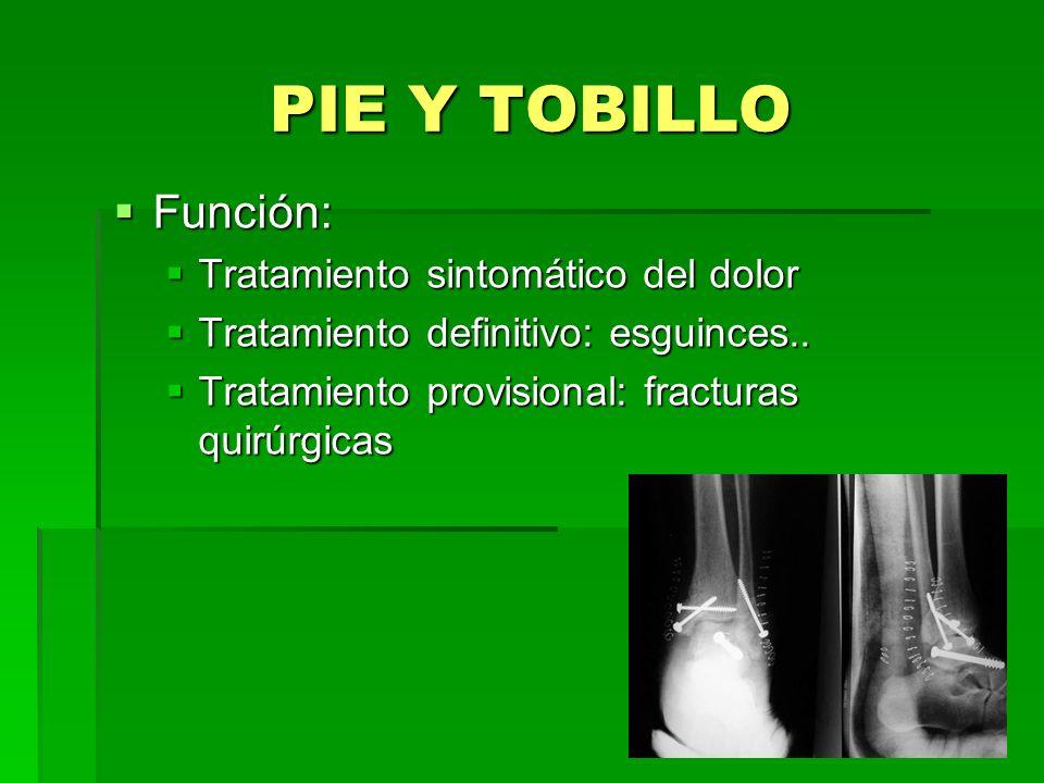 PIE Y TOBILLO Función: Función: Tratamiento sintomático del dolor Tratamiento sintomático del dolor Tratamiento definitivo: esguinces.. Tratamiento de