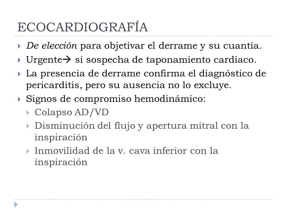 ECOCARDIOGRAFÍA De elección para objetivar el derrame y su cuantía. Urgente si sospecha de taponamiento cardíaco. La presencia de derrame confirma el
