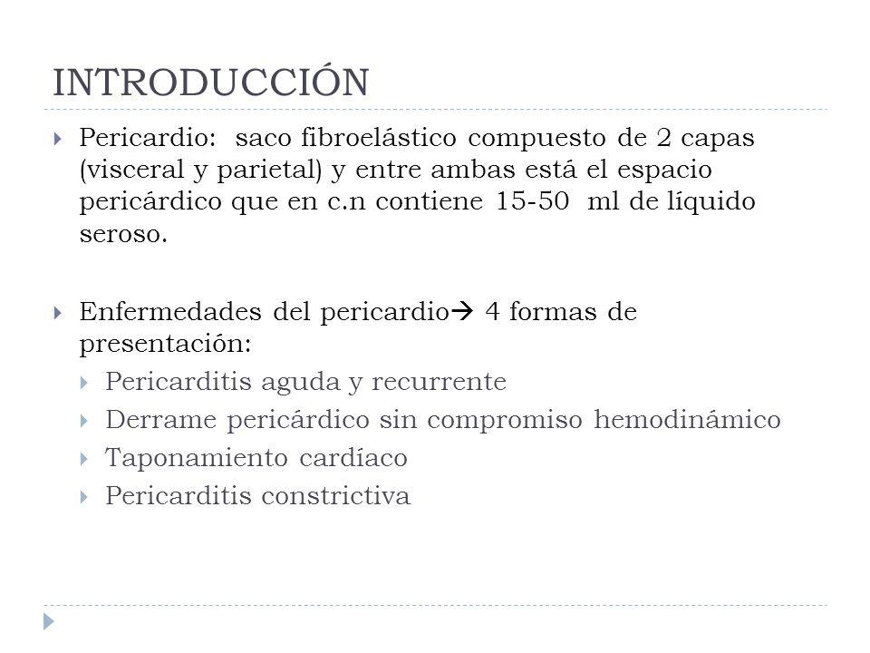 INTRODUCCIÓN Pericardio: saco fibroelástico compuesto de 2 capas (visceral y parietal) y entre ambas está el espacio pericárdico que en c.n contiene 1