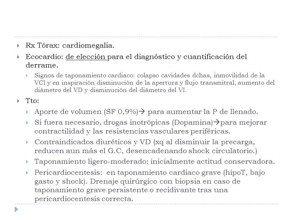 Rx Tórax: cardiomegalia. Ecocardio: de elección para el diagnóstico y cuantificación del derrame. Signos de taponamiento cardiaco: colapso cavidades d