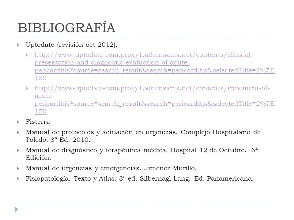 BIBLIOGRAFÍA Uptodate (revisión oct 2012). http://www-uptodate-com.proxy1.athensams.net/contents/clinical- presentation-and-diagnostic-evaluation-of-a