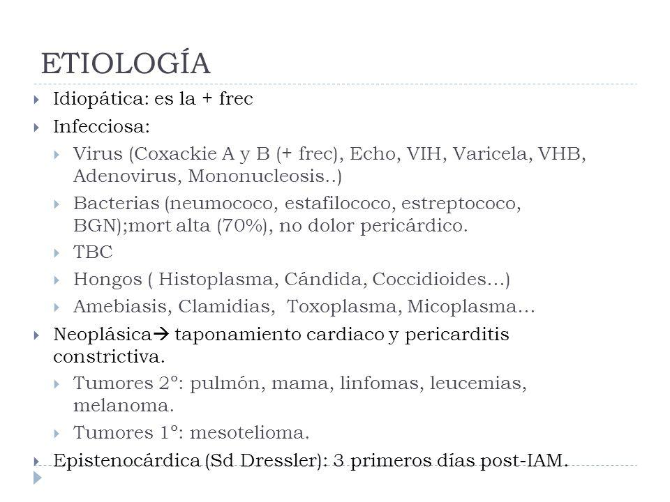 ETIOLOGÍA Idiopática: es la + frec Infecciosa: Virus (Coxackie A y B (+ frec), Echo, VIH, Varicela, VHB, Adenovirus, Mononucleosis..) Bacterias (neumo