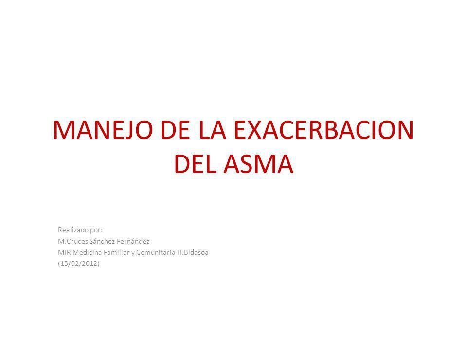 MANEJO DE LA EXACERBACION DEL ASMA Realizado por: M.Cruces Sánchez Fernández MIR Medicina Familiar y Comunitaria H.Bidasoa (15/02/2012)
