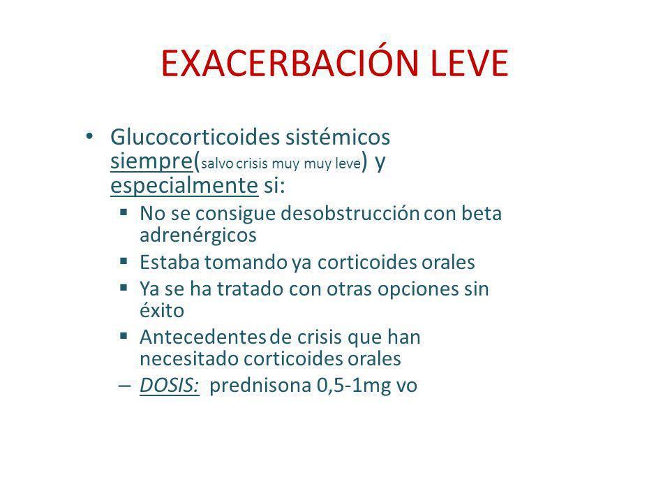 EXACERBACIÓN LEVE Glucocorticoides sistémicos siempre( salvo crisis muy muy leve ) y especialmente si: No se consigue desobstrucción con beta adrenérg