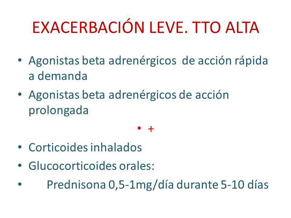 EXACERBACIÓN LEVE. TTO ALTA Agonistas beta adrenérgicos de acción rápida a demanda Agonistas beta adrenérgicos de acción prolongada + Corticoides inha