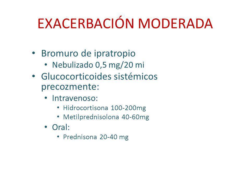 EXACERBACIÓN MODERADA Bromuro de ipratropio Nebulizado 0,5 mg/20 mi Glucocorticoides sistémicos precozmente: Intravenoso: Hidrocortisona 100-200mg Met