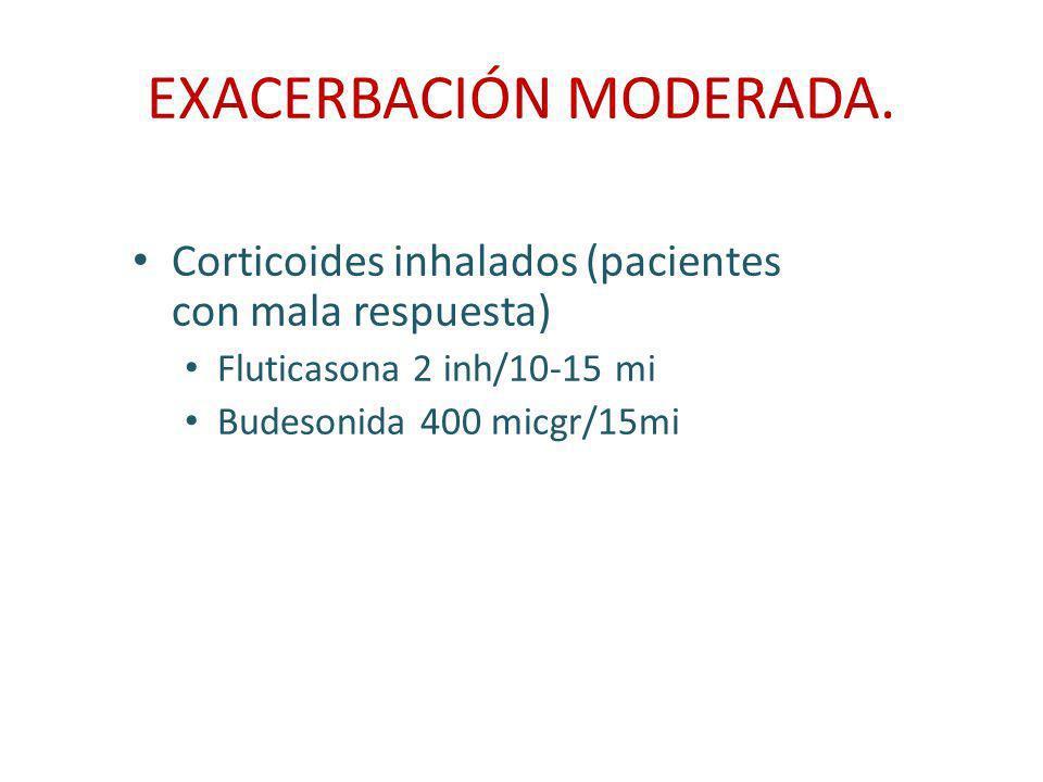 EXACERBACIÓN MODERADA. Corticoides inhalados (pacientes con mala respuesta) Fluticasona 2 inh/10-15 mi Budesonida 400 micgr/15mi