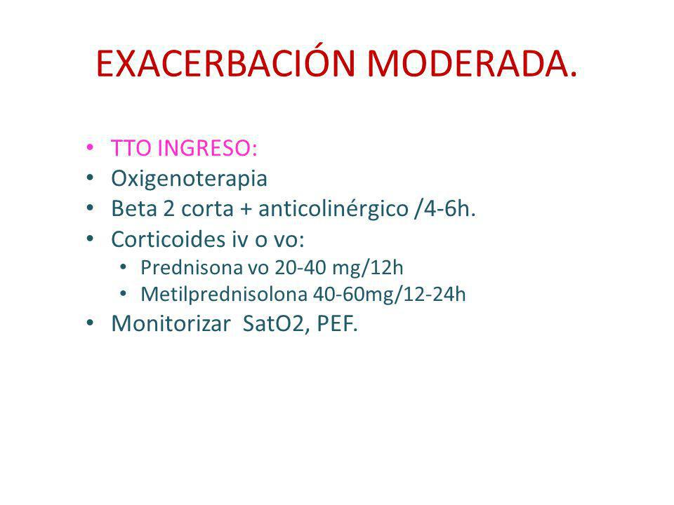 EXACERBACIÓN MODERADA. TTO INGRESO: Oxigenoterapia Beta 2 corta + anticolinérgico /4-6h. Corticoides iv o vo: Prednisona vo 20-40 mg/12h Metilpredniso