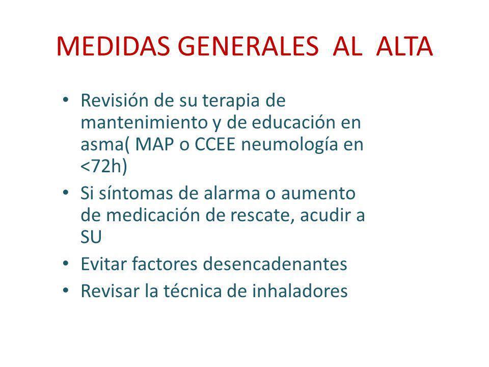 MEDIDAS GENERALES AL ALTA Revisión de su terapia de mantenimiento y de educación en asma( MAP o CCEE neumología en <72h) Si síntomas de alarma o aumen