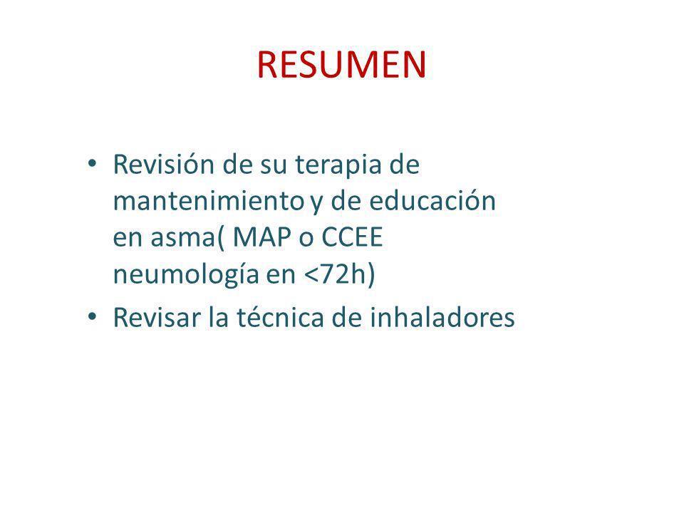 RESUMEN Revisión de su terapia de mantenimiento y de educación en asma( MAP o CCEE neumología en <72h) Revisar la técnica de inhaladores