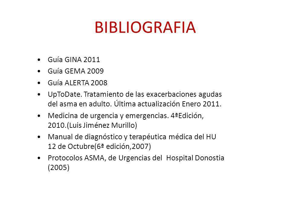BIBLIOGRAFIA Guía GINA 2011 Guía GEMA 2009 Guía ALERTA 2008 UpToDate. Tratamiento de las exacerbaciones agudas del asma en adulto. Última actualizació