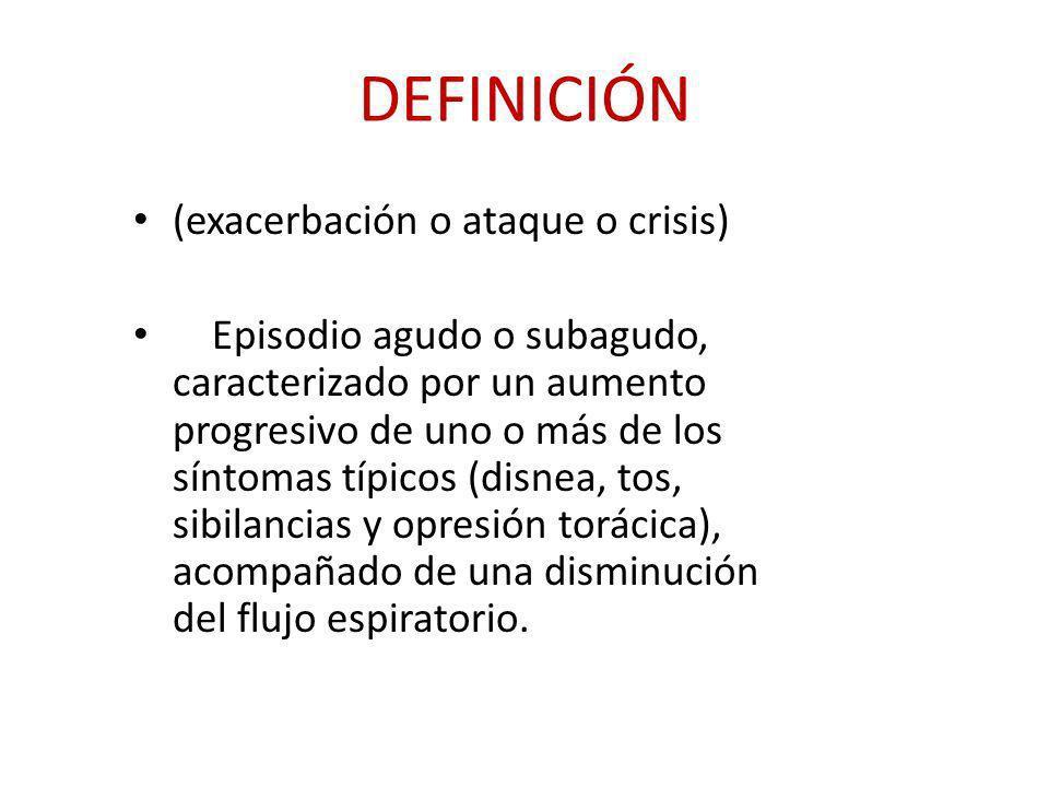 DEFINICIÓN (exacerbación o ataque o crisis) Episodio agudo o subagudo, caracterizado por un aumento progresivo de uno o más de los síntomas típicos (d