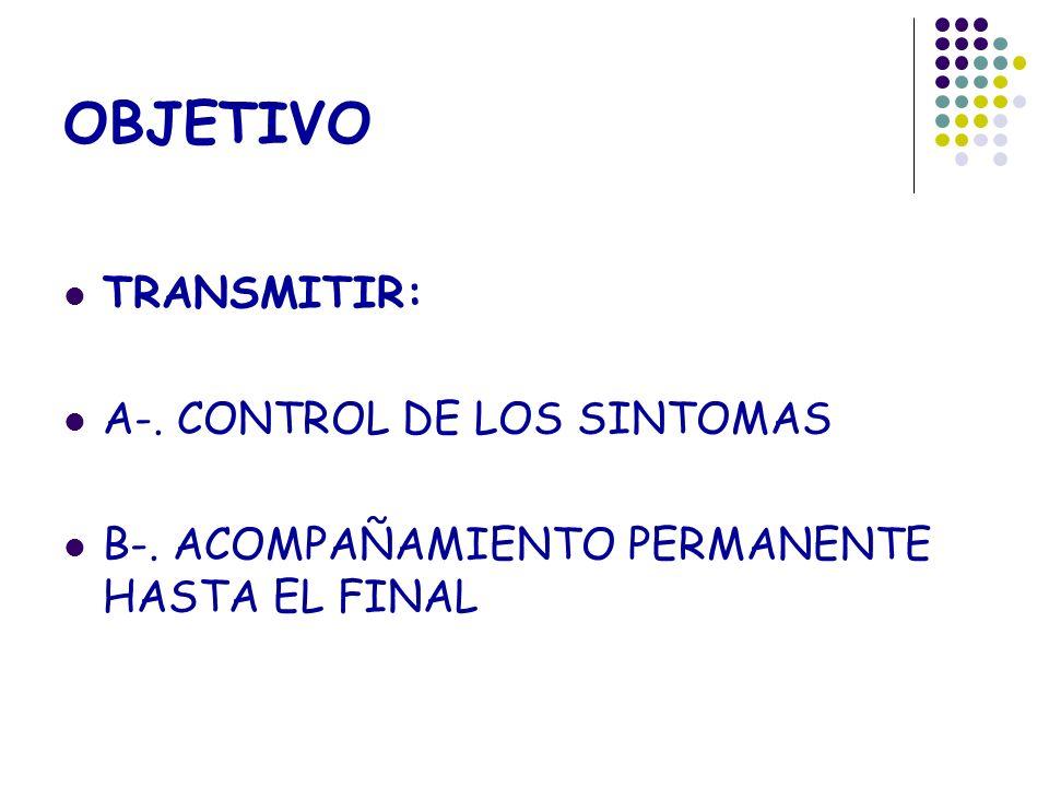 OBJETIVO TRANSMITIR: A-. CONTROL DE LOS SINTOMAS B-. ACOMPAÑAMIENTO PERMANENTE HASTA EL FINAL