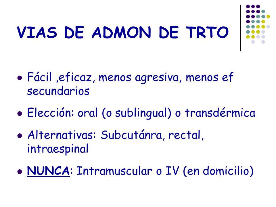 VIAS DE ADMON DE TRTO Fácil,eficaz, menos agresiva, menos ef secundarios Elección: oral (o sublingual) o transdérmica Alternativas: Subcutánra, rectal