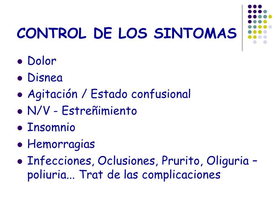 CONTROL DE LOS SINTOMAS Dolor Disnea Agitación / Estado confusional N/V - Estreñimiento Insomnio Hemorragias Infecciones, Oclusiones, Prurito, Oliguri