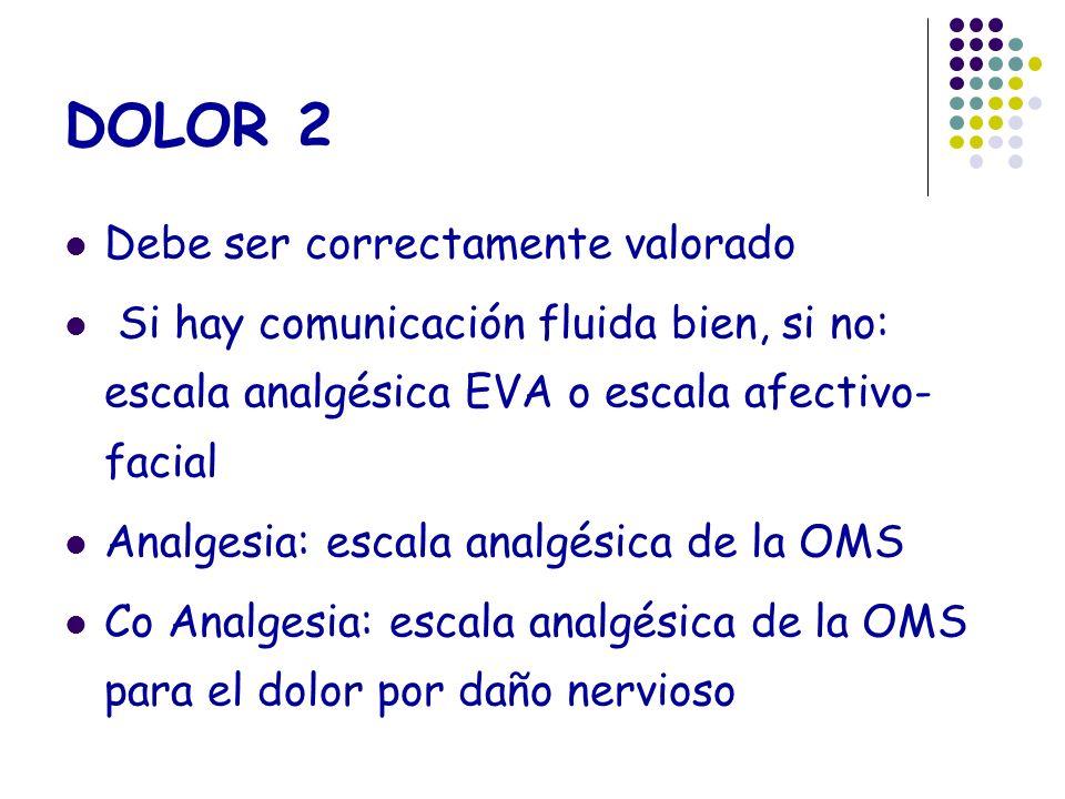 DOLOR 2 Debe ser correctamente valorado Si hay comunicación fluida bien, si no: escala analgésica EVA o escala afectivo- facial Analgesia: escala anal