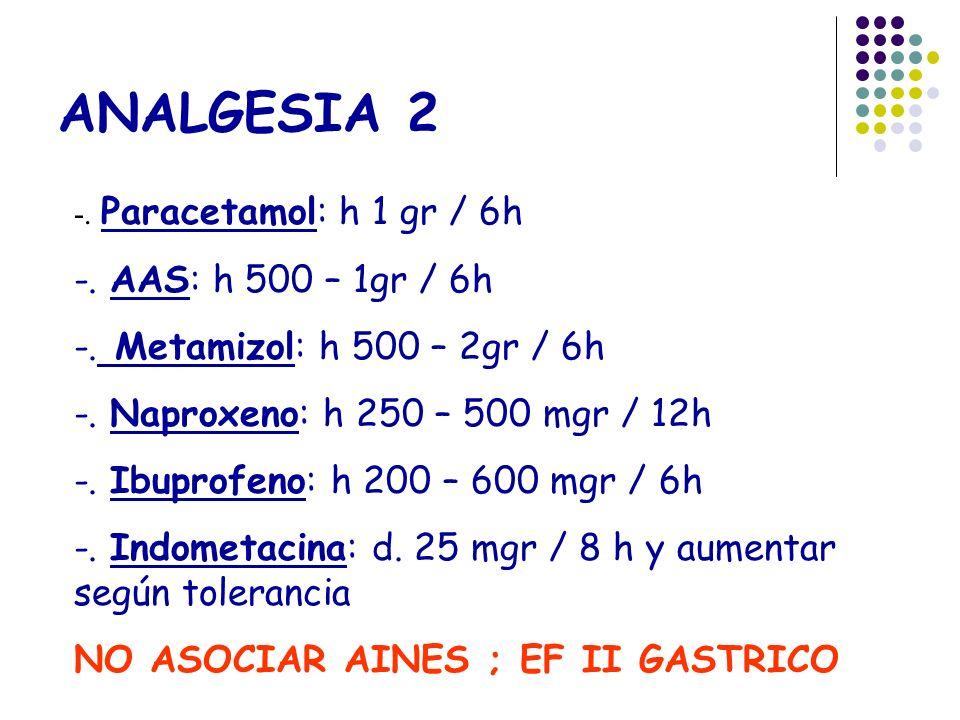 ANALGESIA 2 -. Paracetamol: h 1 gr / 6h -. AAS: h 500 – 1gr / 6h -. Metamizol: h 500 – 2gr / 6h -. Naproxeno: h 250 – 500 mgr / 12h -. Ibuprofeno: h 2