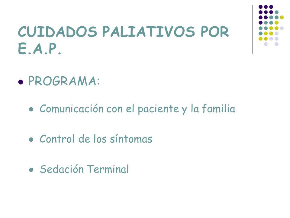 CUIDADOS PALIATIVOS POR E.A.P. PROGRAMA: Comunicación con el paciente y la familia Control de los síntomas Sedación Terminal