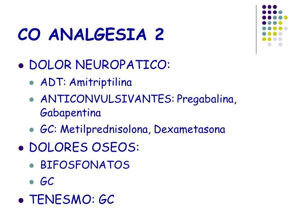CO ANALGESIA 2 DOLOR NEUROPATICO: ADT: Amitriptilina ANTICONVULSIVANTES: Pregabalina, Gabapentina GC: Metilprednisolona, Dexametasona DOLORES OSEOS: B