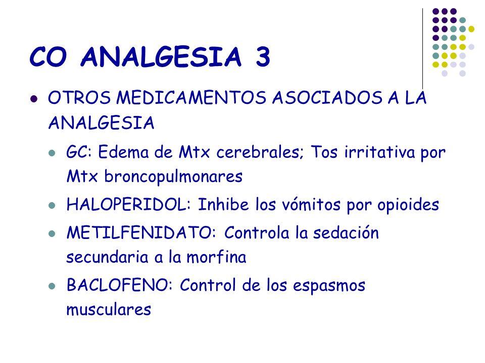 CO ANALGESIA 3 OTROS MEDICAMENTOS ASOCIADOS A LA ANALGESIA GC: Edema de Mtx cerebrales; Tos irritativa por Mtx broncopulmonares HALOPERIDOL: Inhibe lo