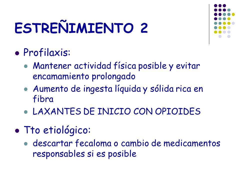 ESTREÑIMIENTO 2 Profilaxis: Mantener actividad física posible y evitar encamamiento prolongado Aumento de ingesta líquida y sólida rica en fibra LAXAN