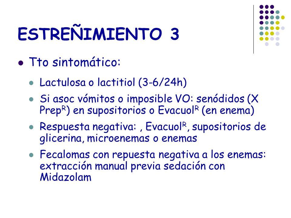 ESTREÑIMIENTO 3 Tto sintomático: Lactulosa o lactitiol (3-6/24h) Si asoc vómitos o imposible VO: senódidos (X Prep R ) en supositorios o Evacuol R (en